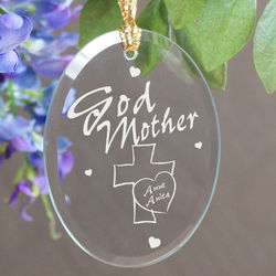 Godmother Personalized Oval Glass Ornament
