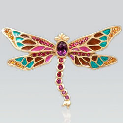 Breea Enameled Dragonfly Pin