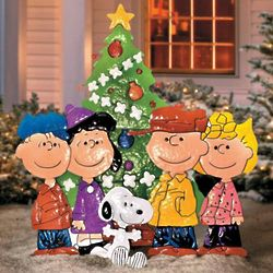 Peanuts Gang Around the Christmas Tree Yard Art