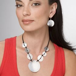 Silvertone Hammered-Style Jewelry Set