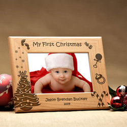 Personalized My First Christmas Wooden Picture Frame