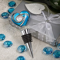 Murano Heart Shaped Wine Stopper Favor