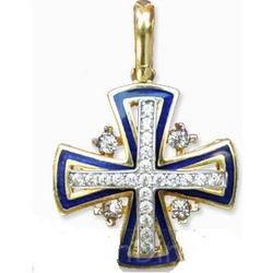 14K Gold Jerusalem Cross with White Diamonds and Blue Enamel