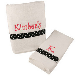 Personalized Bath & Hand Towel Set with Polka Dot Ribbon Accent