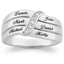 Sterling Silver Mother's Diamond Name Ring