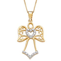 Gold Over Silver Two-Tone Angel and Heart Diamond Necklace
