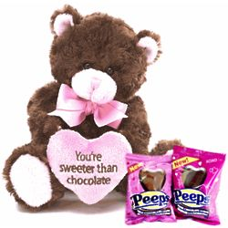 Sweeter Than Chocolate Plush Bear with Chocolate Covered Peeps