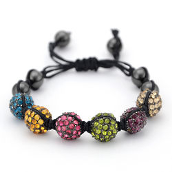 Shamballa Inspired Multi Color Crystal Bead Bracelet