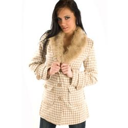 Khaki Houndstooth Faux Fur Collar Coat