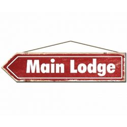 Rustic Main Lodge Wood Ski Sign