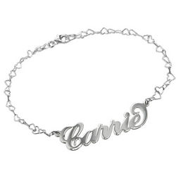 Carrie Style Name Bracelet with Heart Chain