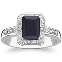 Sterling Silver Midnight Sapphire and Diamond Ring