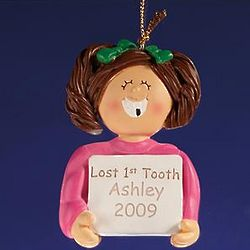 Brunette Girl's Personalized Lost First Tooth Ornament