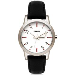 +5 White with Black Leather Band Watch