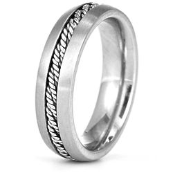 Men's Brushed Stainless Steel Band with Rope Inlay