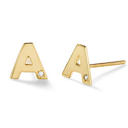 Personalized Initial Diamond Stud Earrings in Gold