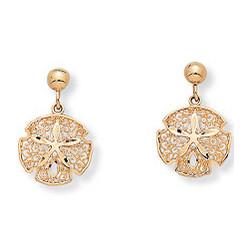 10k Gold Sand Dollar Earrings