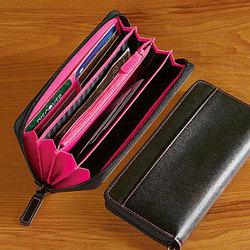 Leather Women's Fan Wallet