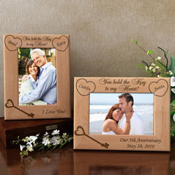 Personalized Key to My Heart Wooden Picture Frame