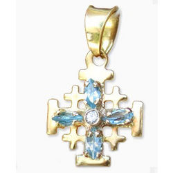 14K Gold Jerusalem Cross with Blue Zircon