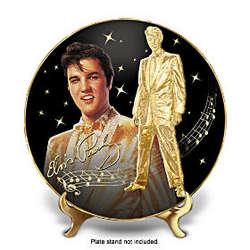Solid Gold Elvis Heirloom Porcelain Collector Plate