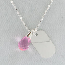 Engraved Silvertone Dog Tag Pendant and Pink Brio Necklace