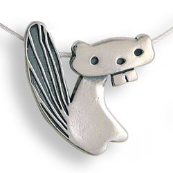Whimsical Sterling Silver Beaver Necklace