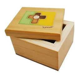 Engravable First Communion Wood Box with Handpainted Cross