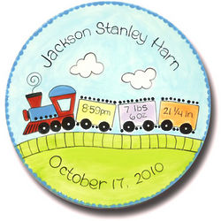 """11"""" Personalized Baby Train Birth Announcement Plate"""