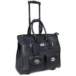 Women's Lizard Black Roller Briefcase