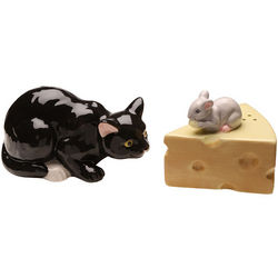 Cat and Mouse Salt and Pepper Shakers