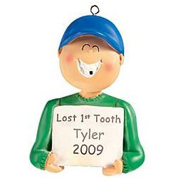 Boy's Personalized Lost First Tooth Ornament