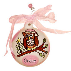 Baby's 1st Christmas Pink Owl Ceramic Ball Ornament