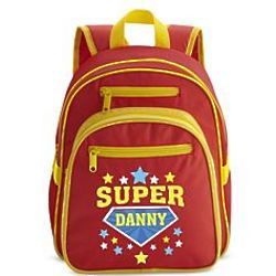Personalized Superhero Small Red Backpack