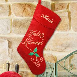 Embroidered Feliz Navidad Velvet Christmas Stocking