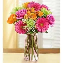 Vibrant Blooms Bouquet with Pink Milk Jar