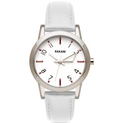 +5 White with White Leather Watch