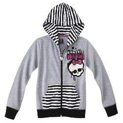 Monster Chic Girl's Grey Zip-Up Hoodie