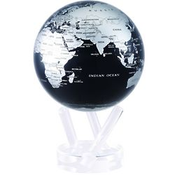 "6"" Silver Black Metallic MOVA Globe with Automatic Rotation"