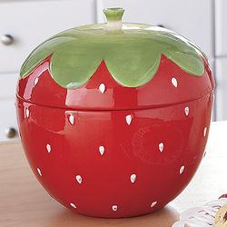 Handpainted Strawberry Cookie Jar