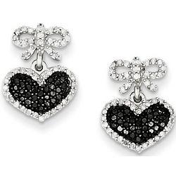 Black Diamond Bow and Heart Earrings