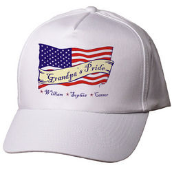 Personalized Scroll US Flag American Pride Hat