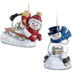 Sled Ahead and Make A Joyful Noise Snowman Snowglobe Ornaments