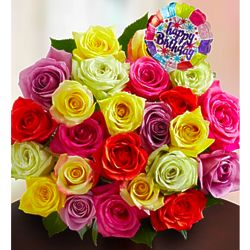 Happy Birthday Assorted Rose 24-Stem Bouquet