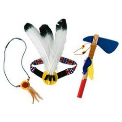 3 Piece Headdress, Necklace, Tomahawk Set