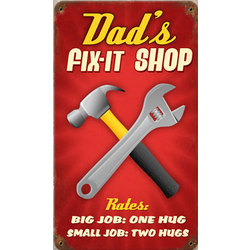 Dad's Fix-It Shop Metal Sign