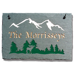 Personalized Mountain Moose Slate Sign