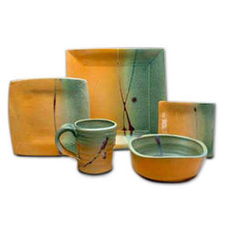 Contemporary Square Pottery Dinnerware Set
