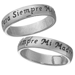 "Sterling Silver ""Para Siempre Mi Madre"" Engraved Mother's Ring"