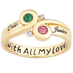 Personalized Gold Swept Away Couples Ring & Birthstone Diamond